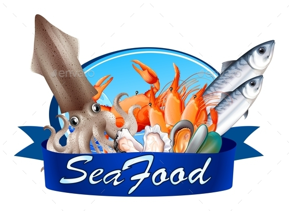 Seafood Label with Assorted Seafood - Food Objects