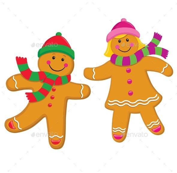 Gingerbread Kids In Knit Caps and Scarves - Christmas Seasons/Holidays