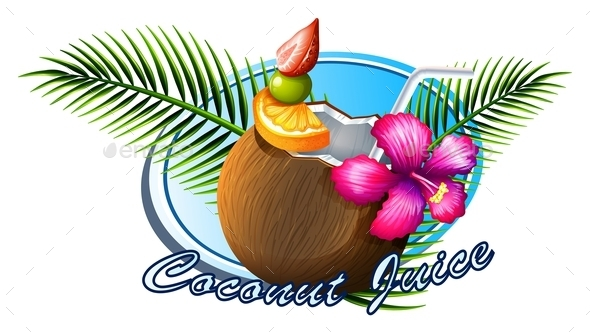 Coconut Sign with Text - Food Objects