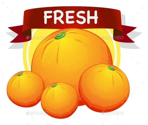 Fresh Oranges with Banner - Food Objects