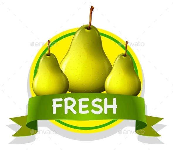 Fresh Food Label with Pears - Food Objects