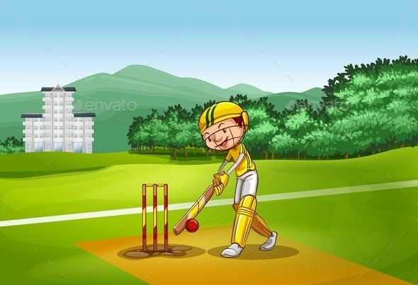 Boy Playing Cricket on Pitch - People Characters