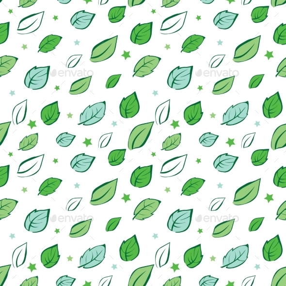 Vector Green Leaves Diagonal Seamless Pattern - Flowers & Plants Nature
