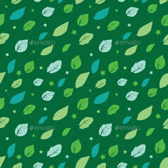 Vector Green Painted Leaves Stars Diagonal - Backgrounds Decorative