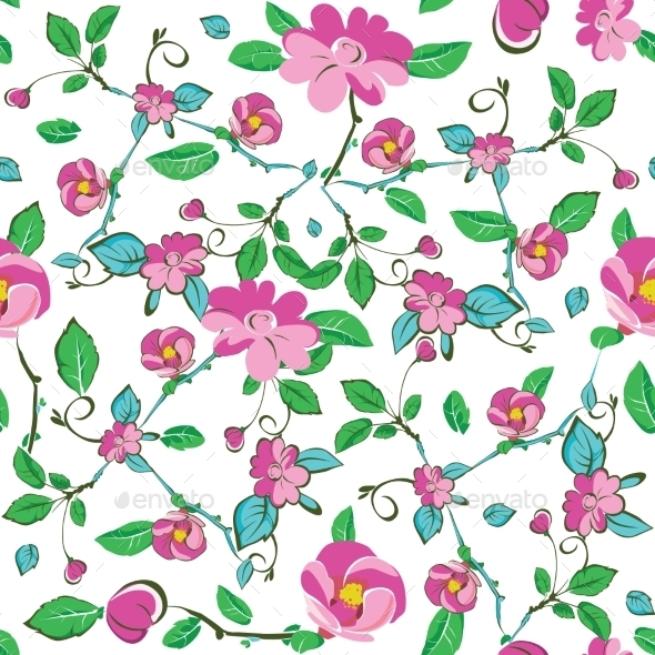 Vector Pink Blue Green Flowers Leaves Seamless - Backgrounds Decorative