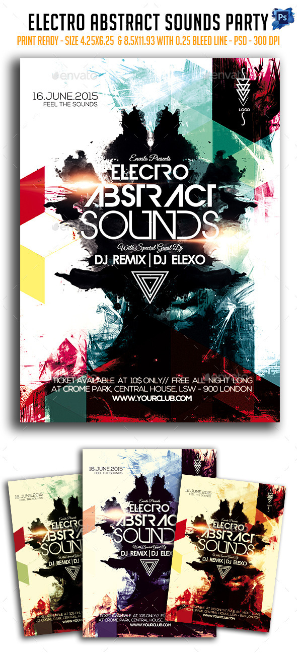 Electro Abstract Sounds Party Flyer - Clubs & Parties Events