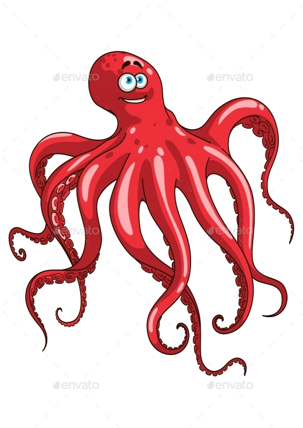 Red Octopus Animal Cartoon Character - Animals Characters