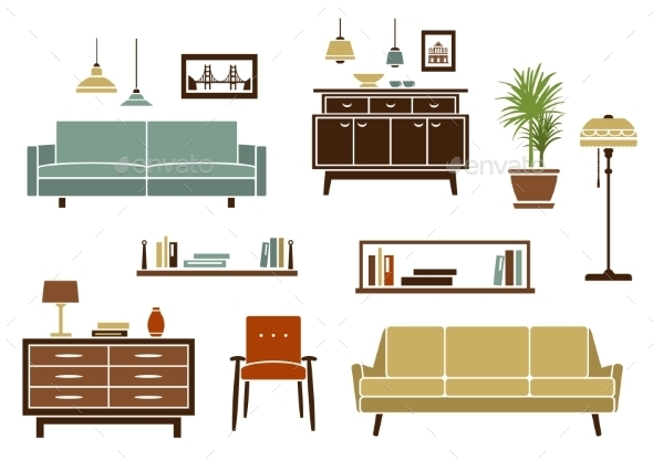 Flat Furniture And Interior Accessories - Objects Vectors