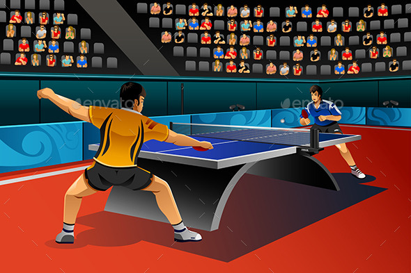 Men Playing Table Tennis in the Competition - Sports/Activity Conceptual