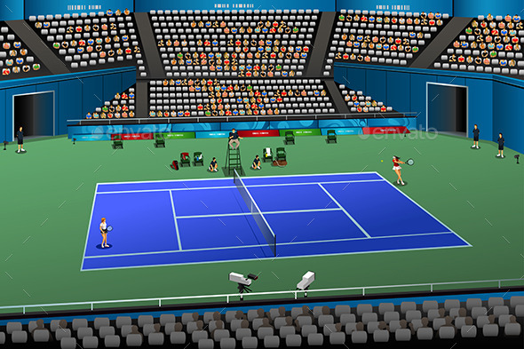 Women Playing Tennis in the Competition - Sports/Activity Conceptual