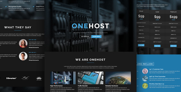 Onehost - One Page WordPress Hosting Theme + WHMCS