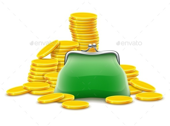 Purse and Gold Coins Cash Money - Miscellaneous Vectors