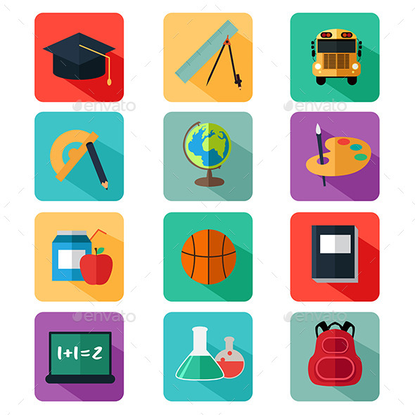 Flat Design Education Icons - Objects Vectors