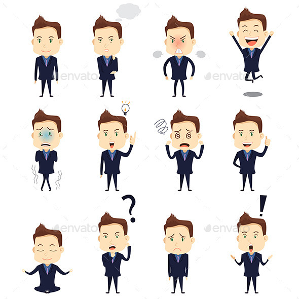 Businessman Expression Icons - Business Conceptual