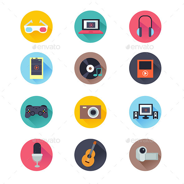 Multimedia Icons - Objects Vectors