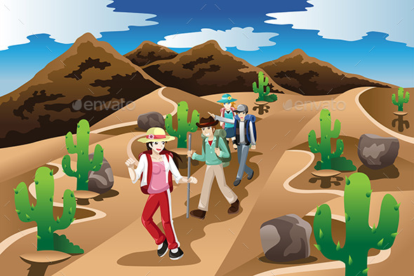 People Hiking in the Desert - People Characters