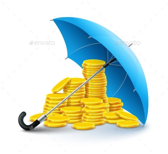 Gold Coins Money Under Umbrella Protection - Man-made Objects Objects