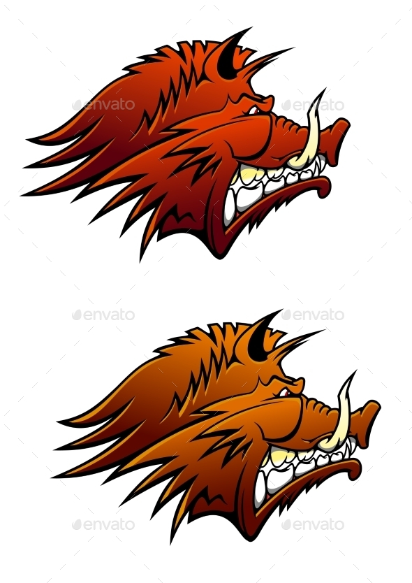 Wild Boar Mascot With Big Tusks - Animals Characters