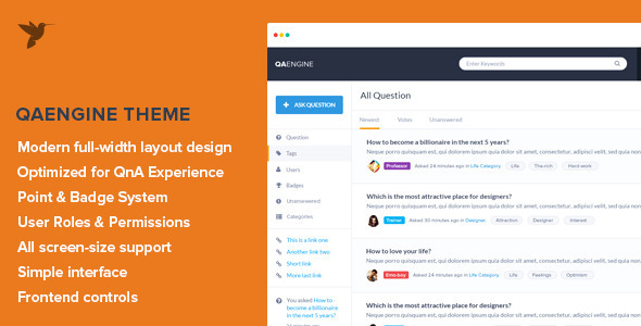 QAEngine – Question and Answer WordPress Theme