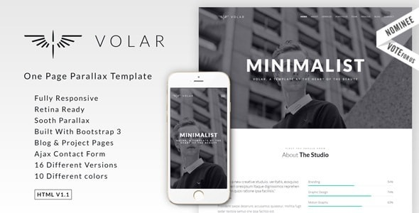 Volar | One Page Minimal Parallax Template