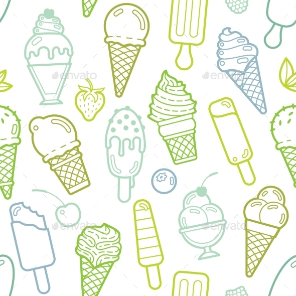 Vector Cute Lime Seamless Pattern With Ice Creams - Food Objects