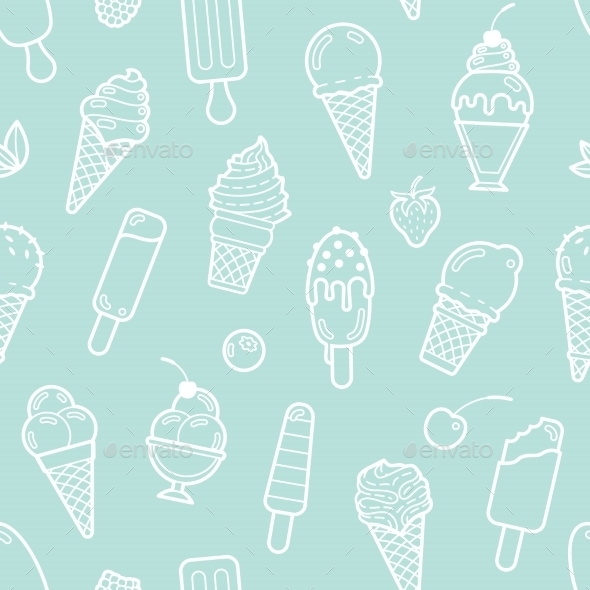 Vector Cute Mint Seamless Pattern With Ice Creams - Food Objects
