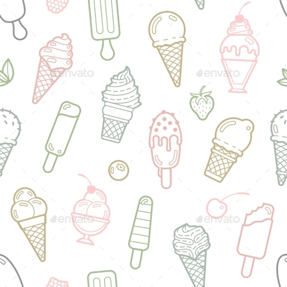 Vector Cute Pastel Ice Cream Seamless Pattern - Food Objects