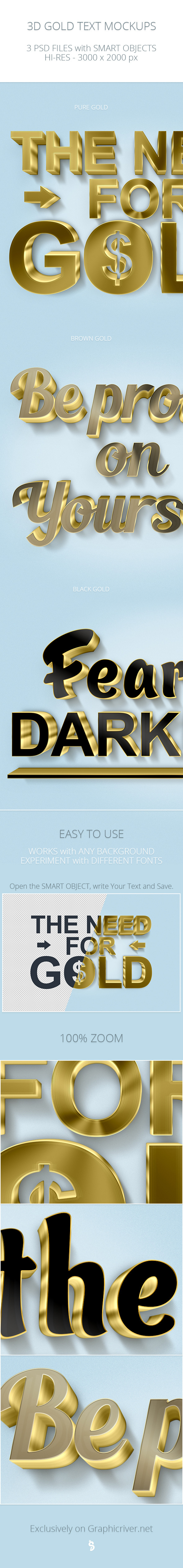 3D Gold Text Mockups
