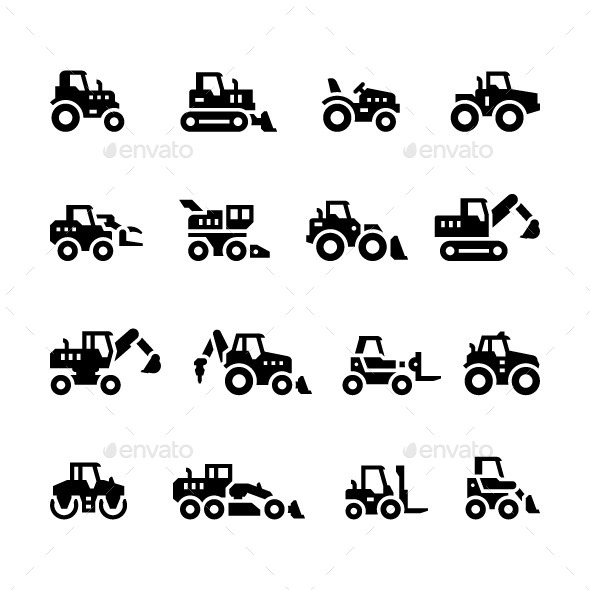 Set Icons of Tractors - Man-made objects Objects