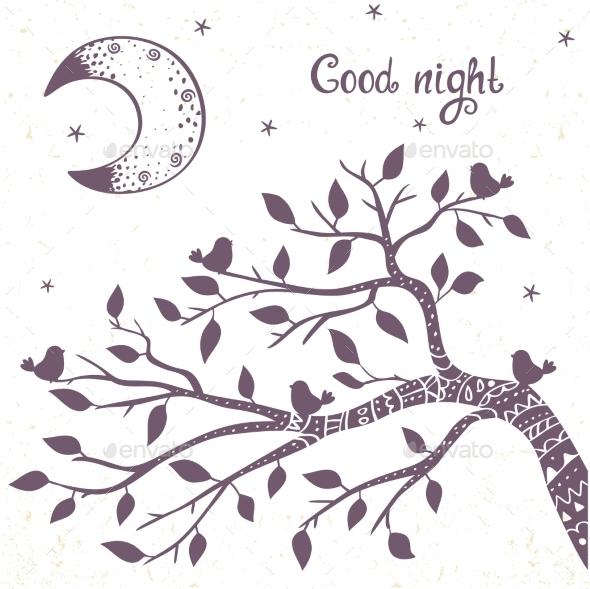 Branch And Moon - Decorative Symbols Decorative