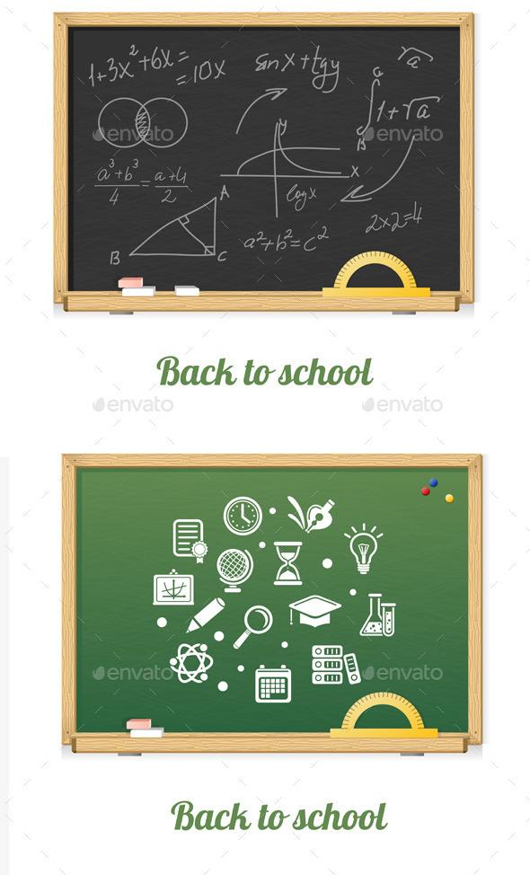 Vector Chalkboard Set - Communications Technology