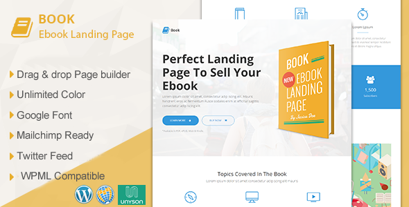 Book Responsive Ebook Landing Page WordPress Theme