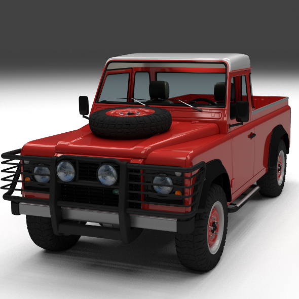Land Rover Defender 110 Pick Up w interior - 3DOcean Item for Sale