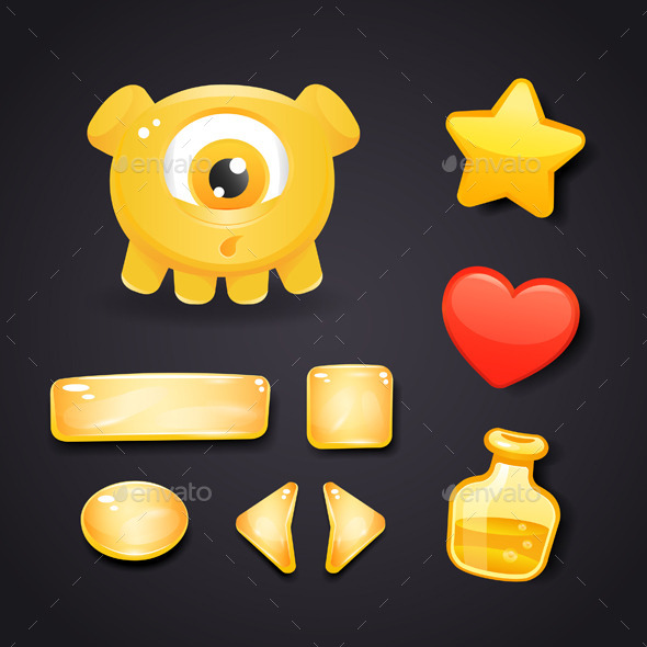 Interface Icons For Game Design With Monster - Monsters Characters