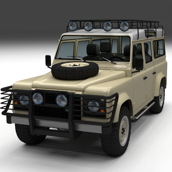 Land Rover Defender 110 Station Wagon w interior - 3DOcean Item for Sale