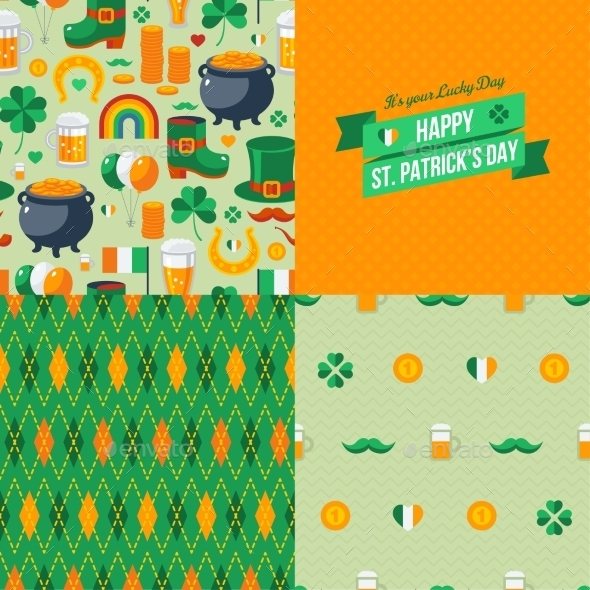 Patrick's Day Seamless Patterns Set