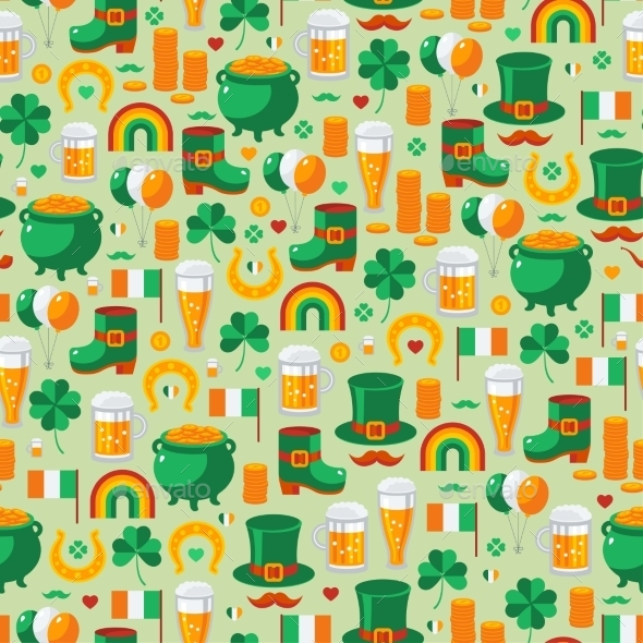Patrick's Day Seamless Pattern - Patterns Decorative