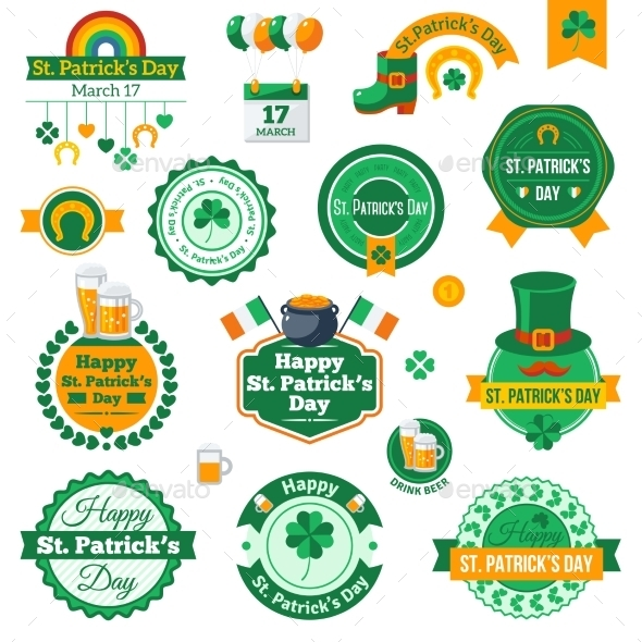 Set of Typographic Saint Patrick's Day Labels - Miscellaneous Seasons/Holidays