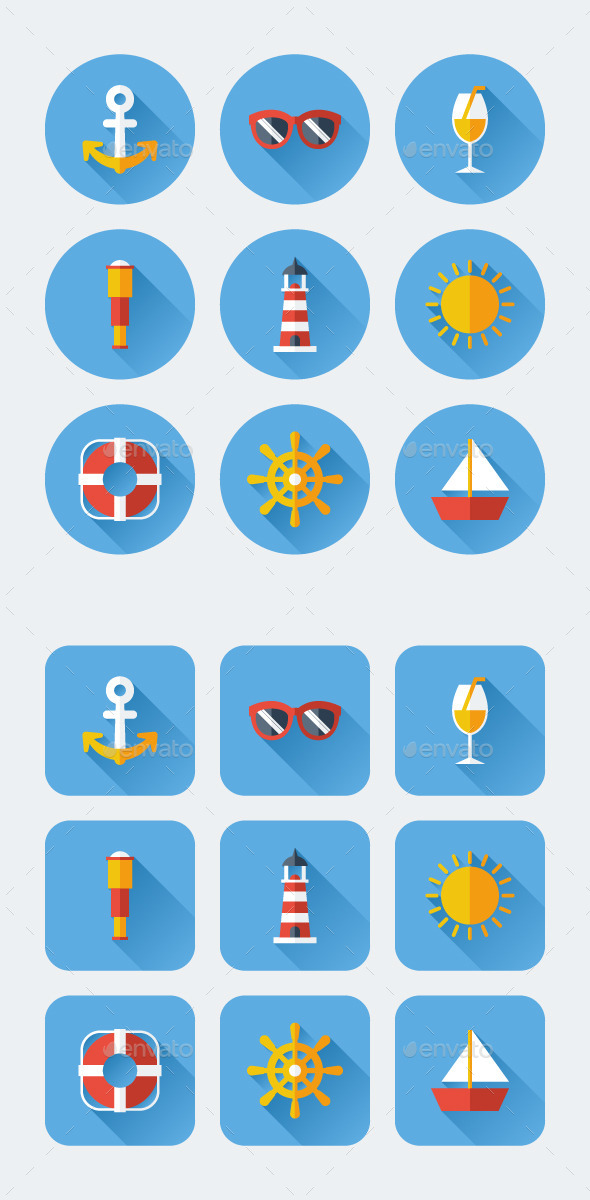 Sea Flat Long Shadow Icons