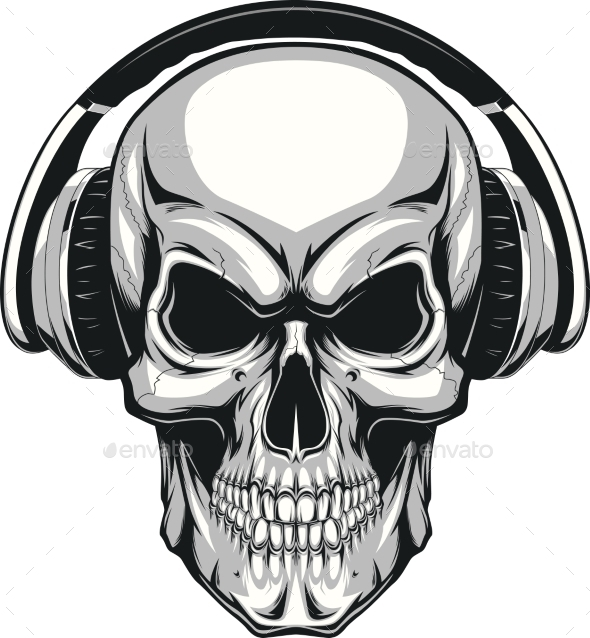 Skull with Headphones - Tattoos Vectors