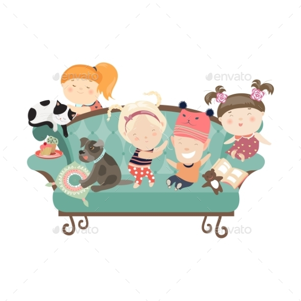 Happy Kids Sitting on the Couch - People Characters