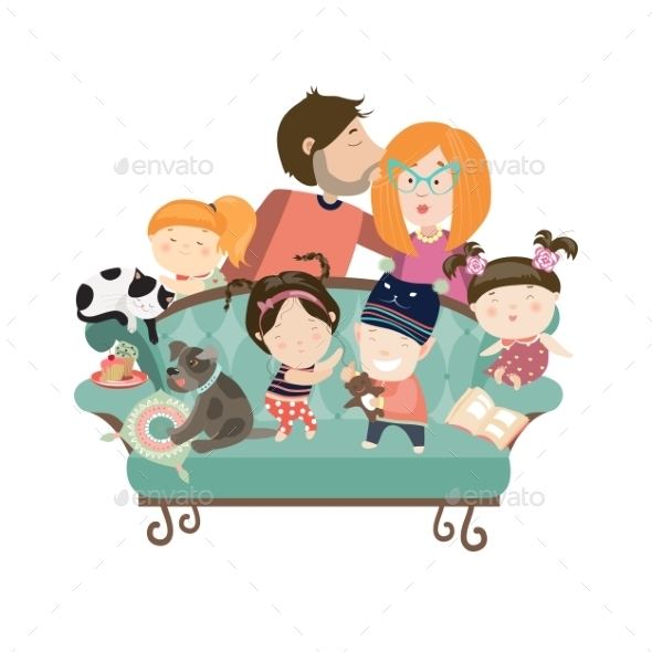 Happy Kids with Parents and Pets - People Characters