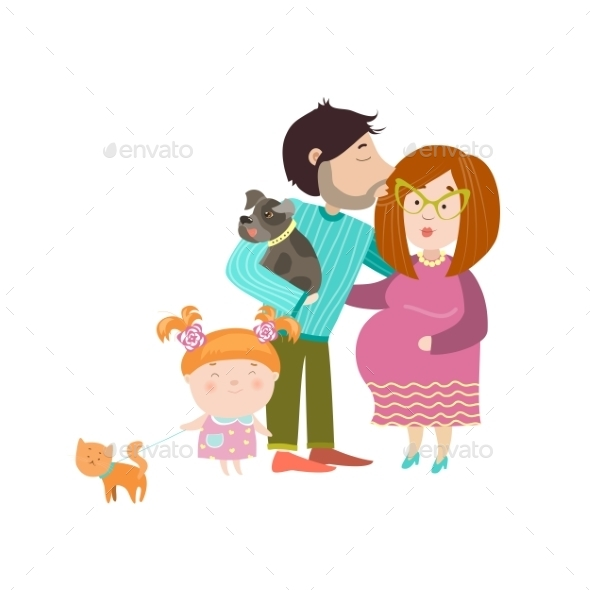 Happy Parents with Pregnant Belly - People Characters