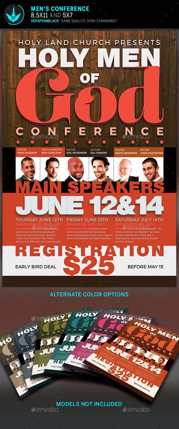 Men of God Conference Flyer Template - Church Flyers