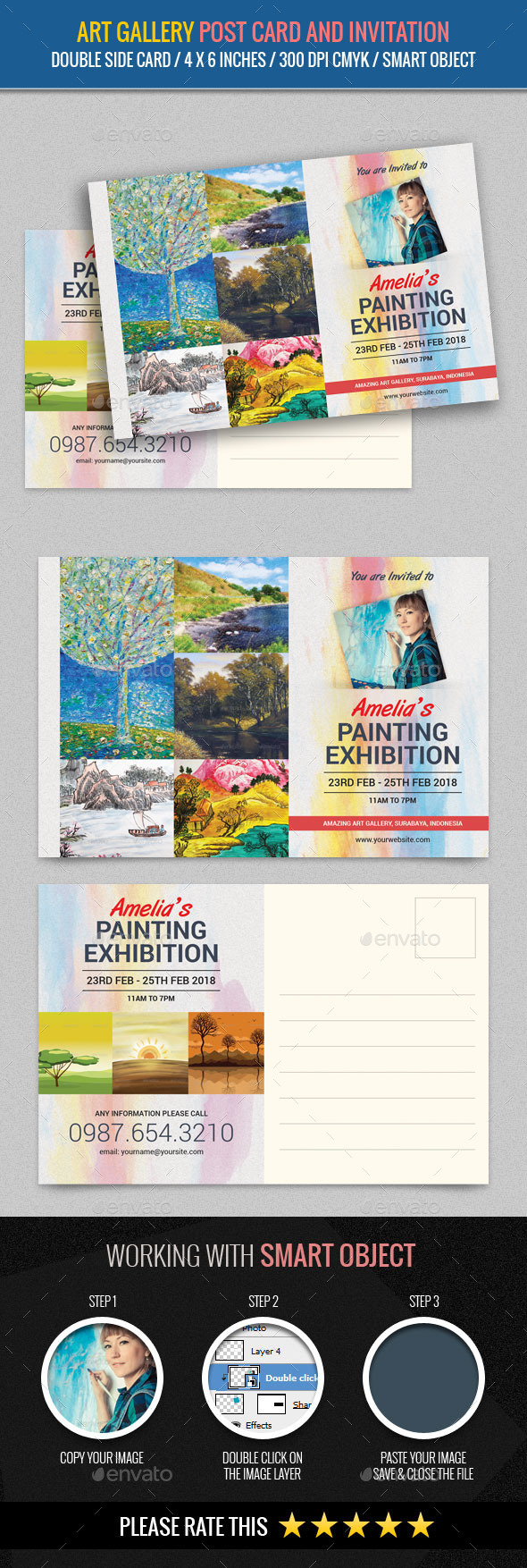 Art Gallery and Painting Exhibition Post Card Temp - Cards & Invites Print Templates
