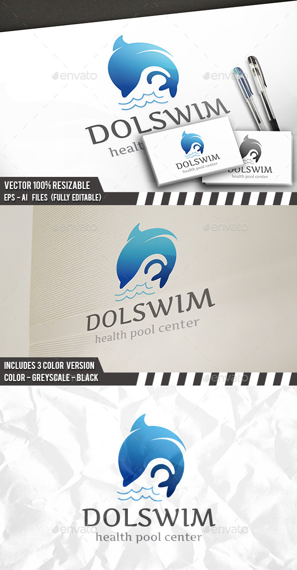 Dolphin Swim Logo - Animals Logo Templates