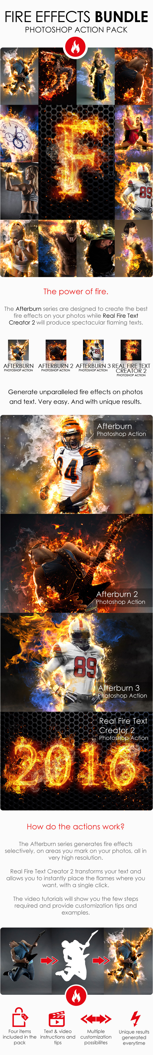 Fire Effects Bundle - Photoshop Actions - Photo Effects Actions