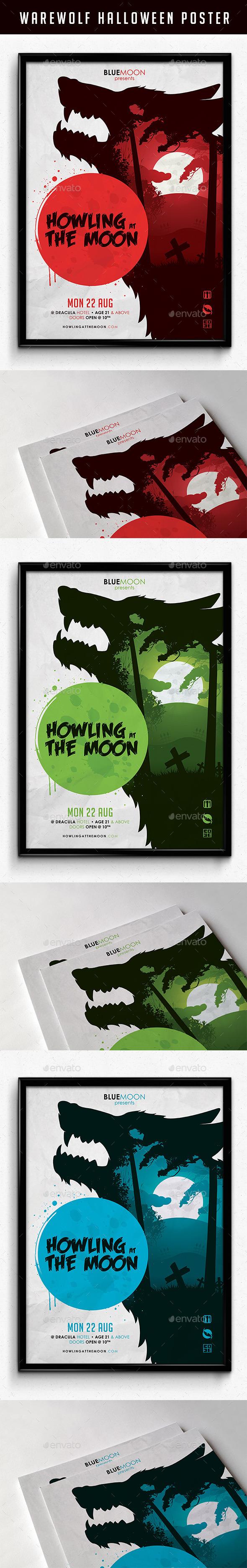 Warewolf Halloween Poster - Flyers Print Templates