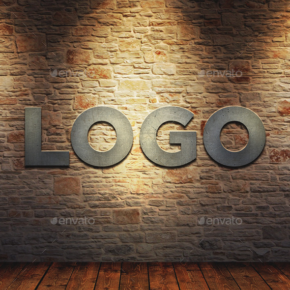 LOGO MockUp Metal on Brick Wall - Logo Product Mock-Ups
