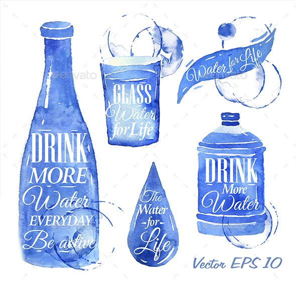 Drink Water Icons - Decorative Symbols Decorative